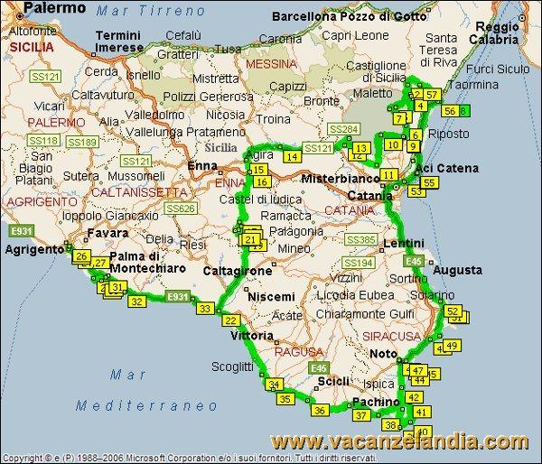 Cartina Geografica Sicilia Sud Orientale.Cartina Politica Sicilia Orientale
